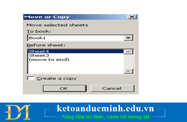 Di chuyển hay chép một Worksheet trong Sheet Tab